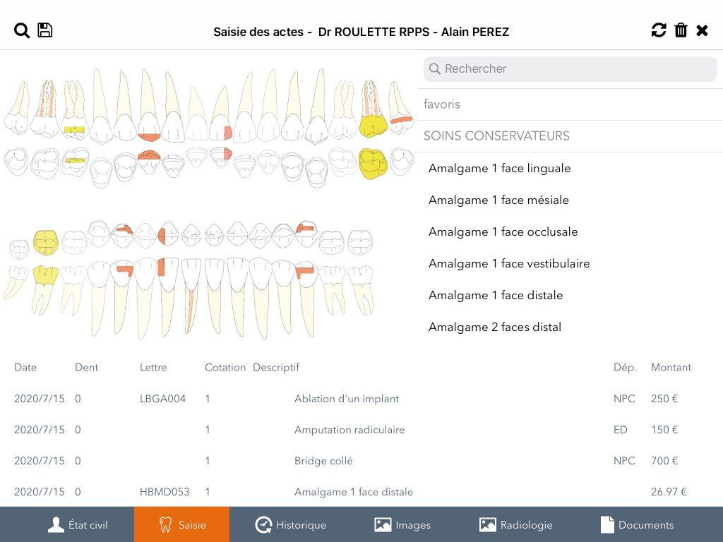diagramme dentaire avec oremia mobile