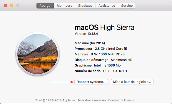 rapport sysème apple macOS
